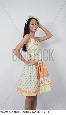 Asian Young Woman Gesture Posing On White Background.
