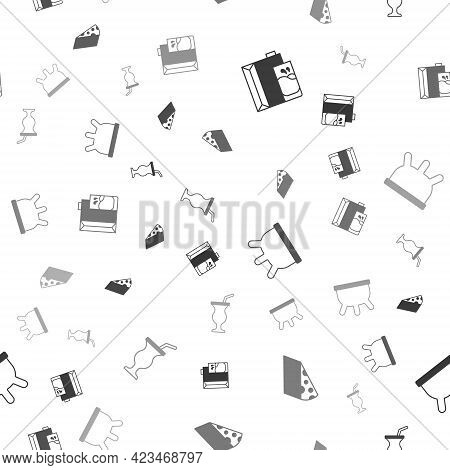 Set Paper Package For Milk, Cheese, Udder And Milkshake On Seamless Pattern. Vector