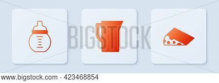 Set Milk Jug Or Pitcher, Baby Milk In A Bottle And Cheese. White Square Button. Vector