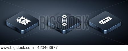 Set Isometric Car Inspection, Audio And Shock Absorber Icon. Vector