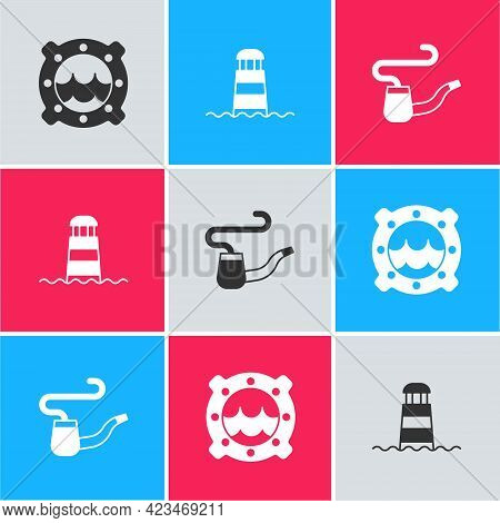 Set Ship Porthole With Seascape, Lighthouse And Smoking Pipe Icon. Vector