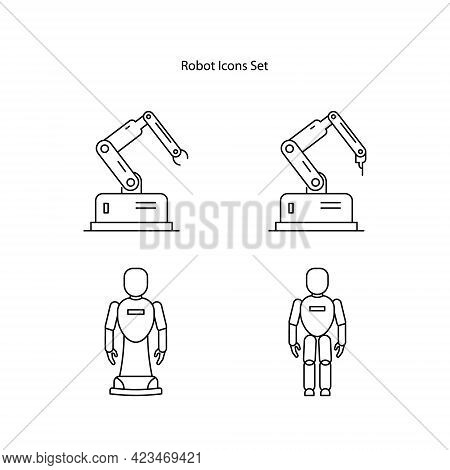 Robot Icons Set Isolated On White Background. Robot Icon Thin Line Outline Linear Robot Symbol For L