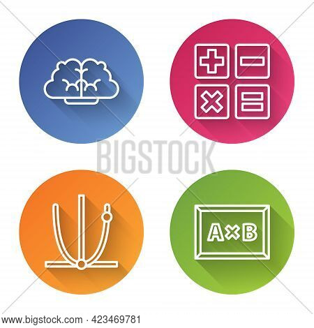 Set Line Graph, Schedule, Chart, Diagram, Feather And Inkwell, Ringing Bell And Calculation. Color C