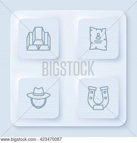 Set Line Gold Bars, Wanted Western Poster, Western Cowboy Hat And Horseshoe. White Square Button. Ve