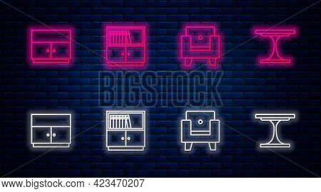 Set Line Library Bookshelf, Armchair, Wardrobe And Round Table. Glowing Neon Icon On Brick Wall. Vec
