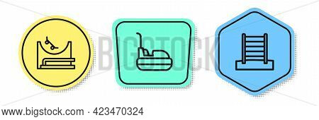 Set Line Skate Park, Bumper Car And Swedish Wall. Colored Shapes. Vector