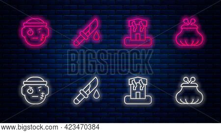 Set Line Bloody Knife, Arson Home, Bandit And Wallet. Glowing Neon Icon On Brick Wall. Vector