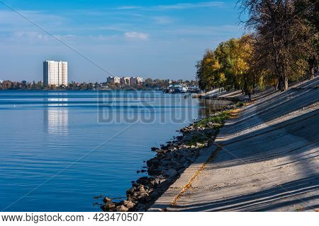 Embankment Of The Russian Provincial Town Of Engels. Volga River - Autumn City Landscape.