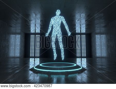 Dark Sci-fi Room With Neon Platform And Digital Man On That. Science Fiction, Future, Technology, Hu