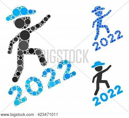Mosaic Gentleman Climbing 2022 Icon Organized From Spheric Elements In Different Sizes, Positions An