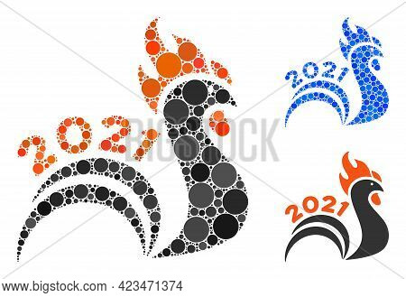 Collage 2021 Rooster Tail Icon Composed Of Spheric Items In Variable Sizes, Positions And Proportion