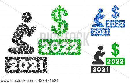 Collage Man Pray Dollar 2022 Icon Composed Of Spheric Items In Different Sizes, Positions And Propor