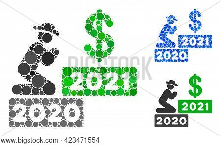 Collage Gentleman Pray Dollar 2021 Icon Designed From Spheric Elements In Variable Sizes, Positions