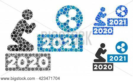Mosaic Man Pray Ripple 2021 Icon United From Circle Items In Different Sizes, Positions And Proporti