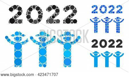 Collage 2022 Gentlemen Dance Icon Organized From Round Items In Different Sizes, Positions And Propo