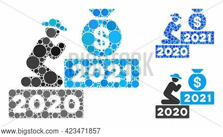 Collage Gentleman Pray For Money 2021 Icon Composed Of Round Items In Variable Sizes, Positions And