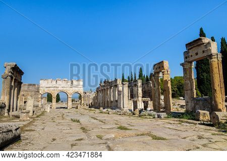 Panorama Of Frontinus Street Of Antique City Hierapolis, Pamukkale, Turkey. There Are Colonnaded Str