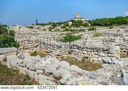 Panorama Of Residential Block In Ancient City Chersonesos, Sevastopol, Crimea. It's Possible To See