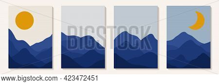 Abstract Art Mountain. Abstract Day And Night, Sun And Moon Modern Style. Modern Art Graphic Backgro