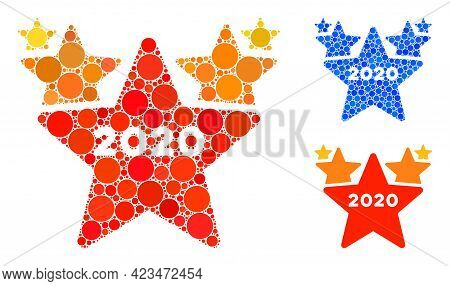 Collage 2020 Stars Hit Parade Icon Composed Of Round Elements In Different Sizes, Positions And Prop