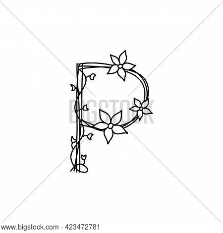 Vintage Floral Bold Letter P Logo Spring. Classic Summer Letter Design Vectors With Black Color Hand