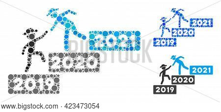 Mosaic 2021 Year Guy Help Icon Composed Of Round Items In Different Sizes, Positions And Proportions
