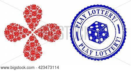 Dice Cube Curl Flower Shape, And Blue Round Play Lottery Exclamation Corroded Stamp Seal With Icon I