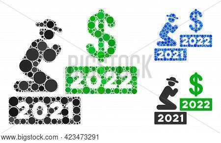 Mosaic Gentleman Pray Dollar 2022 Icon Composed Of Circle Elements In Random Sizes, Positions And Pr