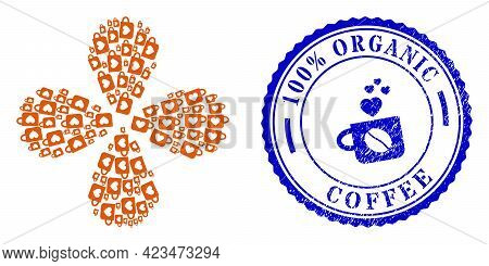 Lovely Cup Twirl Flower Shape, And Blue Round 100 Percents Organic Coffee Corroded Stamp Seal With I