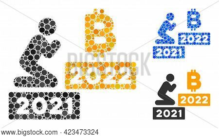 Collage Man Pray Bitcoin 2022 Icon Composed Of Round Items In Various Sizes, Positions And Proportio