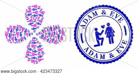 Marriage Couple Curl Flower Shape, And Blue Round Adam And Eve Corroded Rubber Print With Icon Insid