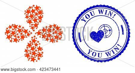 Red Star Centrifugal Flower Cluster, And Blue Round You Win Exclamation Rough Watermark With Icon In