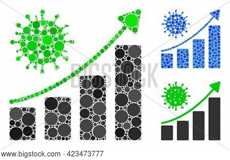 Mosaic Coronavirus Growing Trend Icon Designed From Circle Items In Random Sizes, Positions And Prop