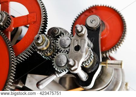Antique Gear Mechanism. Exhibition Of Mechanical Engineering Achievements. Close-up