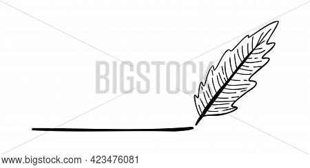 Scribble Pen Underlines With Black Lines. Hand-drawn Pen Isolated On White Background. Element For D