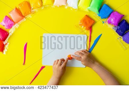 Air Plasticine Mass For Modeling Is Colored With Ultralight Plasticine, All Colors Rainbow Spread Ou
