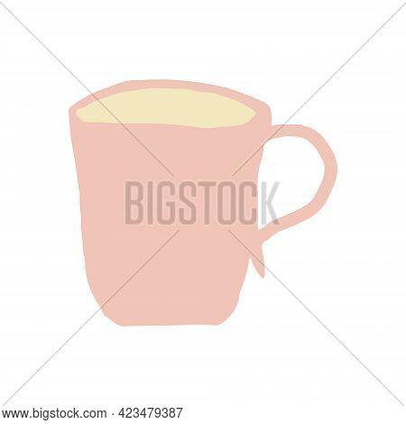 Tea Cup Hand Drawn. Scandinavian Hygge. Cozy Home. Pink