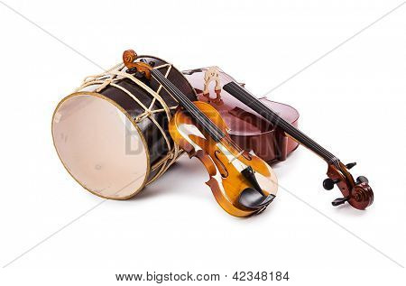 A group of instruments isolated on white