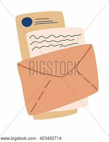 Envelope With Letters. Mail Envelopes. Postcard, Paper Mail With Postmark, Wax Sealing And Postage S