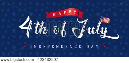 Happy Independence Day Usa Creative Banner. Isolated Abstract Graphic Design Template. Red, Blue, Wh
