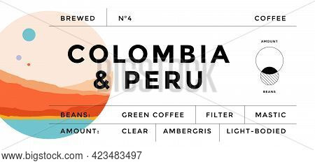 Label, Minimalist Style. Graphic And Typography Design Modern Vintage Label, Tag, Sticker For Coffee