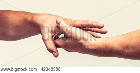 Close Up Help Hand. Helping Hand Concept, Support. Helping Hand Outstretched, Isolated Arm, Salvatio