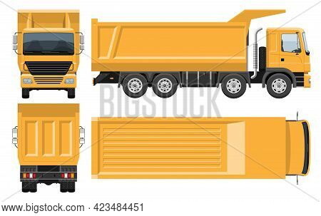Dump Truck Vector Template With Simple Colors Without Gradients And Effects. View From Side, Front,