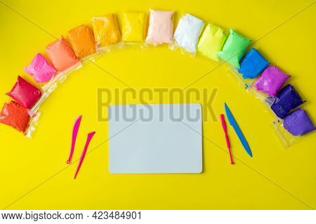 Air Plasticine Mass For Modeling Colored Ultralight Plasticine, All Colors Rainbow Are Spread Out On