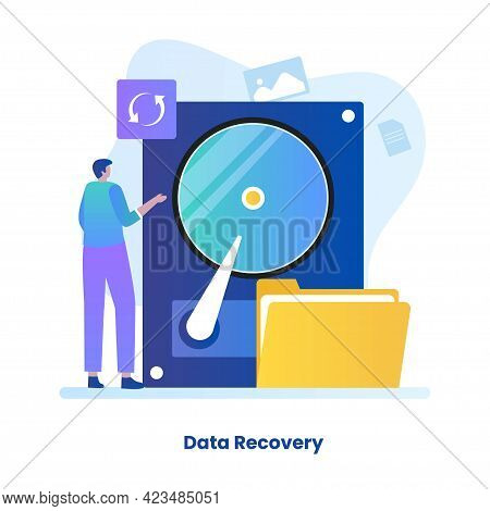 Flat Illustration Of Data Recovery Concept