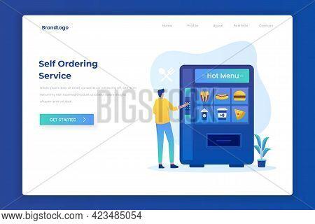 Self Ordering Food Service Illustration Landing Page