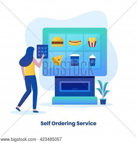 Flat Illustration Of Self Ordering Food Service Concept