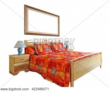 Cozy Classical Bed With Red Duvet Linen And Oriental Frame Isolated On White With Clipping Path