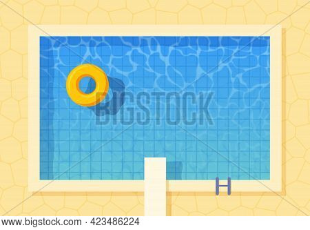 Swimming Pool Top View With Inflatable Ring And Springboard Jump. Poster Template For Summer Holiday