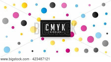 Circles Pattern Background With Cmyk Colors Vector Template Design
